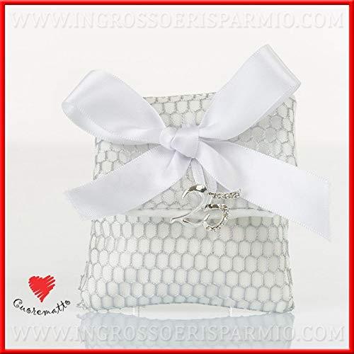 Ingrosso e risparmio cuorematto - sacchetto a bustina portaconfetti con rete argentata e ciondolino in metallo numero 25, bomboniere, pensierini nozze d'argento (con confetti bianchi)