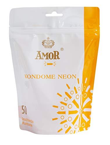 """AMOR\""""Neon\"""" 50er Pack leuchtende Premium Kondome, fluoreszierend, gefühlsecht und extra feucht"""