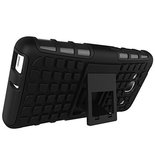 Earlybon,Moto G2 Defender Hard Armor Hybrid Rubber Bumper/Defender Rugged Back Cover,Black Colour