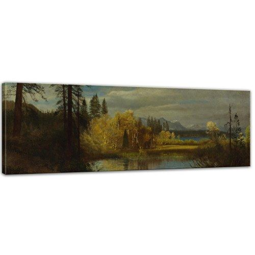 Wandbild Albert Bierstadt Outlet at Lake Tahoe - 90x30cm Panorama quer - Alte Meister Berühmte Gemälde Leinwandbild Kunstdruck Bild auf Leinwand