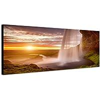 Quadro stampa su tela come Panorama in 150x 50cm Mare cascata scogli al (Mare Su Tela)