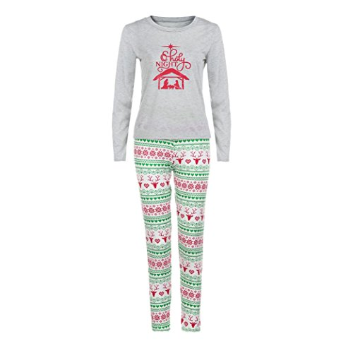 Preisvergleich Produktbild Elecenty Damen Schlafanzug, Pyjamas Nachtwäsche Paar Familie Jumpsuit Frauen Weihnachtsdruck Herren Langarm Weihnachten Bluse Hose Set Lang Hosenanzug Sleepwear (L, Grau Damen)