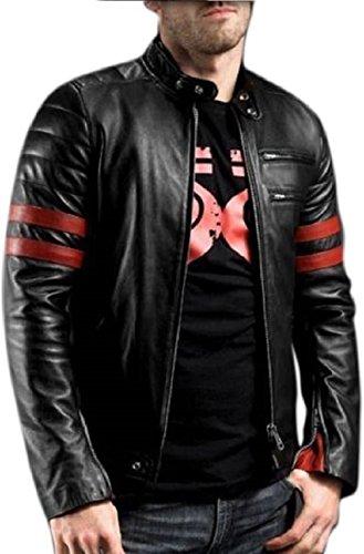 Leather Retail Men's Faux Italian Leather Jacket, Large(Black)