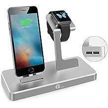 1byone Apple Watch Charging Stand, 3-en-1 Base de carga para el iWatch, iPad e iPhone con 2 puertos USB, la estación de carga de Apple MFi Certificado de aleación de aluminio, gris