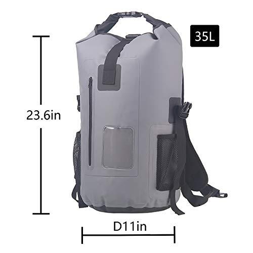 SINOTOP Wasserdichter Packsack 35L - Wasserfester Rucksack - Leicht, faltbar f¨¹r Wandern, Ski, Reisen, Kajak, Rafting,Schule,Segeln (Gra...