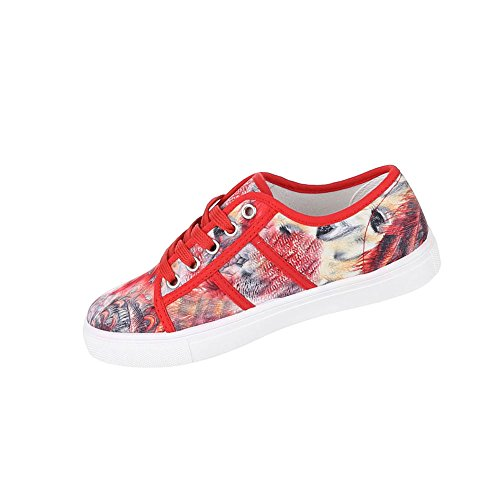 Damen Schuhe Freizeitschuhe Mokassin Pumps Rot