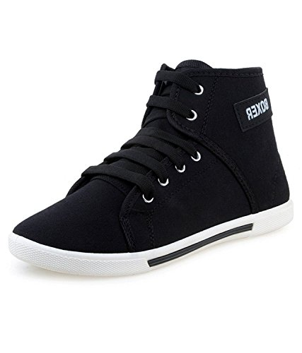 Leewon Men's Black Canvas Sneaker (9)  available at amazon for Rs.195