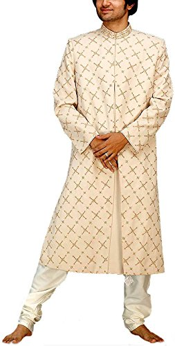 Exotic India Men's Ivory Sherwani with All-Over Embroidery - Ivory