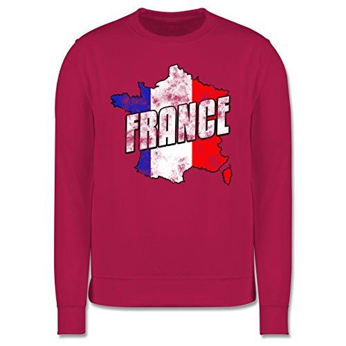 EM 2016 - Frankreich - France Umriss Vintage - Herren Premium Pullover Fuchsia
