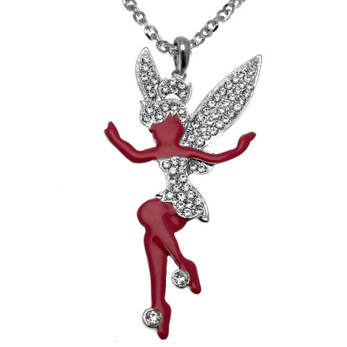 Acosta Großer Fuchsia Emaille & Kristall klar-Fairy Halskette (Silber) (Teenage Kostüm Schmuck)