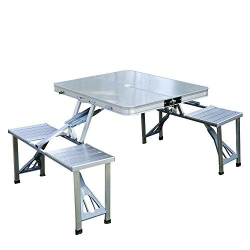 Mesa de Picnic Plegable con 4 Asientos y Agujero para Sombrilla - Aluminio - 85.5x67.5x66.5cm