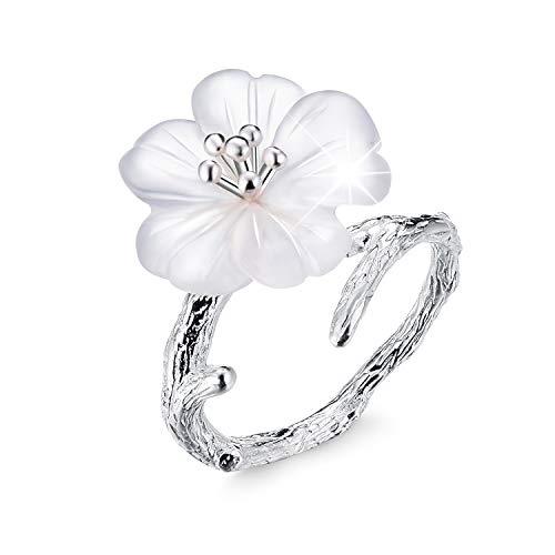 Lotus Fun S925 Sterling Silber Damen Ringe Blume im Regen Offener Ring Handgemachte Schmuck für Frauen und Mädchen. (Sliber)