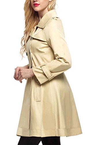 ZEARO Manteau Femme Slim Fit Trench Vintage Jacket Coat Manches Longues Veste Lâche -Bleu/Noir/Kaki Kaki