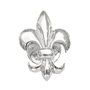 silver plated fleur de lys lapel pin badge tie pin kitchen home. Black Bedroom Furniture Sets. Home Design Ideas