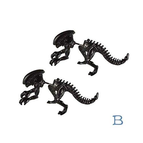 Hot vendita, fittingran orecchino di dinosauro scheletro moda e individualità ear tragus piercing corpo regali orecchini gioielli (nero)