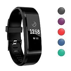 Idea Regalo - ATETION Orologio Fitness Tracker per Donna Uomo Bambini, Impermeabile Cardiofrequenzimetro da Polso Smartwatch, Contapassi Calorie Activity Tracker Smartband con Monitoraggio Sonno (Nero)