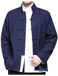 becf88048bc3 besbomig Camicia da Uomo Hanfu Tuta Tang Stile Cinese Giacche Kungfu Manica  Lunga Cotone Tai Chi