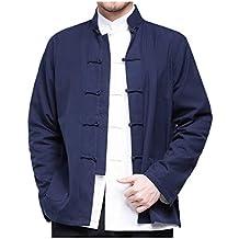 besbomig Camicia da Uomo Hanfu Tuta Tang Stile Cinese Giacche Kungfu Manica  Lunga Cotone Tai Chi 401fc4098da
