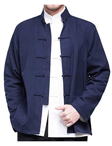 besbomig Herrenhemd Hanfu Tang-Anzug im chinesischen Stil Kungfu Jacken Langarm Baumwolle Tai Chi Uniform für Jugend Mittleren und Alten gealtert - Chinesische Bekleidung