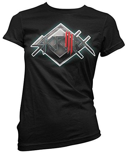 Damen-T-shirt Skrillex - 3d Logo 100% baumwolle LaMAGLIERIA, S, schwarz