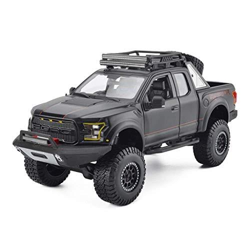 JTWMY Auto Modell 1:24 Ford F150 Raptor Pickup Legierung Druckguss Ornamente Spielzeug Sportwagen Sammlung Schmuck 25x10,5x11 cm (Color : Black) (Lego Spider Man Black)