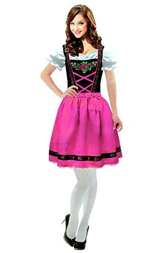 amscan Dirndl Trachtenkleid Karneval Kostüm Fasching Kleid Trachten Weiß/Schwarz/Pink (S/M)