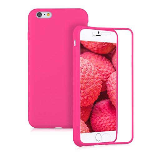 Kwmobile cover in silicone per apple iphone 6 plus/6s plus - custodia full body case protezione integrale per cellulare fucsia