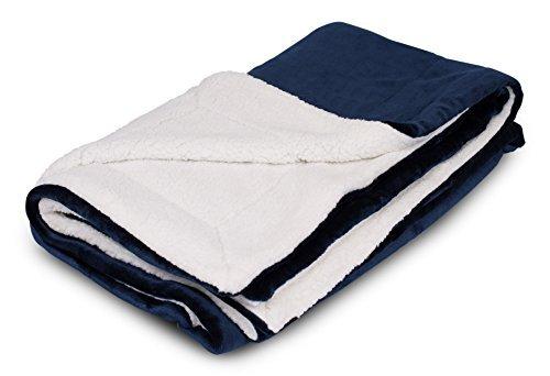 Internet's best coperta peluche sherpa reversibile | 150cm x 130cm | coperta divano ultra soffice | copridivano leggero | 100% microfibra | pratica per i viaggi | letto navy