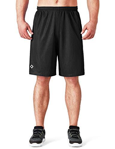 NAVISKIN Herren Kurze Sporthose 25,4 cm schnell trocknend Laufen Workout Mesh Shorts Seitentasche - Schwarz - Groß -