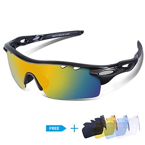 CHEREEKI lunettes de soleil polarisées à vélo cyclisme [ 1 lentille polarisée + 4 Lentilles interchangeables communes], Lunettes de soleil à vélo avec Cadre incassable en TR90 pour homme femme