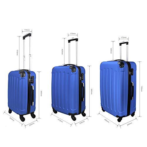 Todeco - Juego de Maletas, Equipajes de Viaje - Material: Plástico ABS - Tipo de Ruedas: 4 Ruedas de rotación de 360 ° - Esquinas protegidas, 51 61 71 cm, Azul, ABS