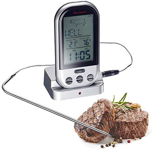 Westmark Digitales Funk-Bratenthermometer mit großem Display, Tragbar, Reichweite bis 30 m, 13 x 7,6 x 5,5 cm, Rostfreier Edelstahl/Kunststoff, Silber, 12922260