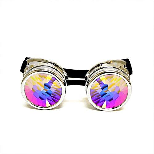 GloFX Chrom Gepolsterte Echtglas Kaleidoskop Brille-Cyborg