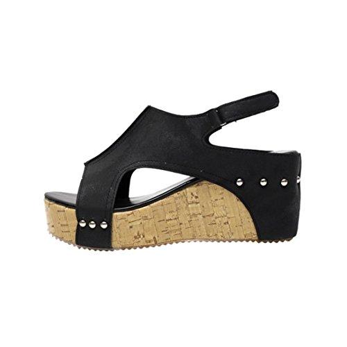 Sandali con Tacco,Yesmile Donna estivo Round Toe rivetto traspirante spiaggia sandali Boho casual cunei scarpe Open Toe Stivaletti Sandali Donna (Asin Size40=Eur 39, Nero)