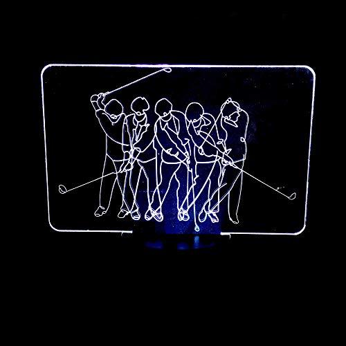 Golf Mann Kreative 3D Nachtlicht 7 Farbwechsel USB Berührungsschalter LED 3D illusion Tischlampe Für Kinder Schlafzimmer Lampe Spielzeug Geschenk