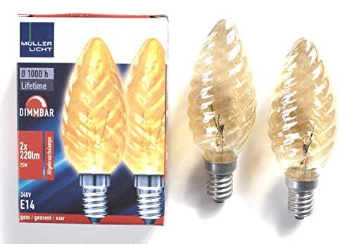 2 St Kerzenbirne gedreht klar gold 25W Glühbirne E14 Birne Glühlampe Kerze Licht Kerzenform