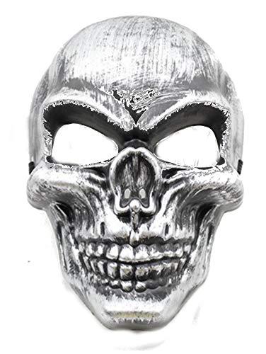 Piccoli monelli maschera teschio in pvc rigida argento