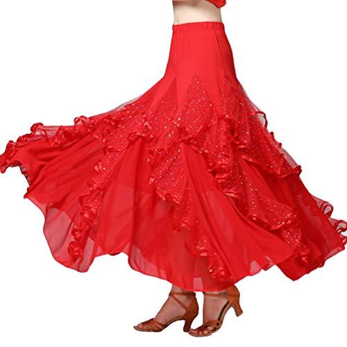 Zenbang Damen Tanzrock Walzer Tango Ballroom Kleid Latein Dance Bekleidung Bauchtanz Rock mit großer Schaukel (Rot) (Langen Dance Schwarzen Square Rock)