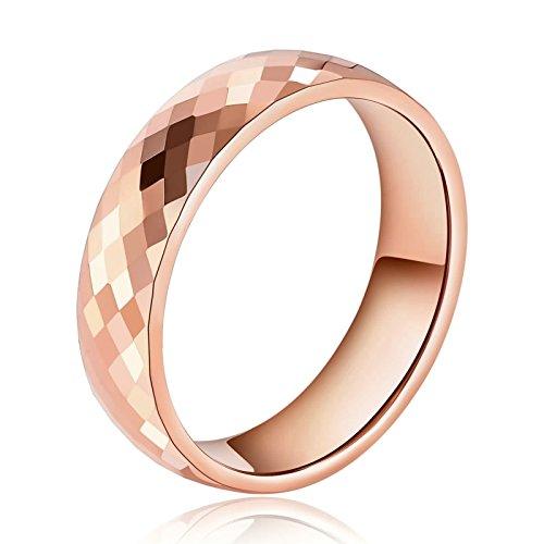 SonMo 6MM Ringe Edelstahl Herren Eheringe Rosegold Edelstahl Mosaik Poliert Rose Gold Size: 65 (20.7) mit Gratis Gravur