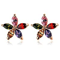 Swarovski Elements diamond crystal style colorful girl flower elegant gold plated stud earrings Jin2