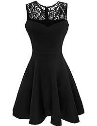 Suimiki Damen ärmellos Rundausschnitt falten A-linie Partykleid mini Cocktailkleid kurz Festliche Kleid