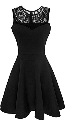Suimiki Damen ärmellos Rundausschnitt falten A-linie Partykleid mini Cocktailkleid kurz Festliche Kleid (S, Schwarz mit schwarzer Spitze) (Spitze Mini-kleid Front,)