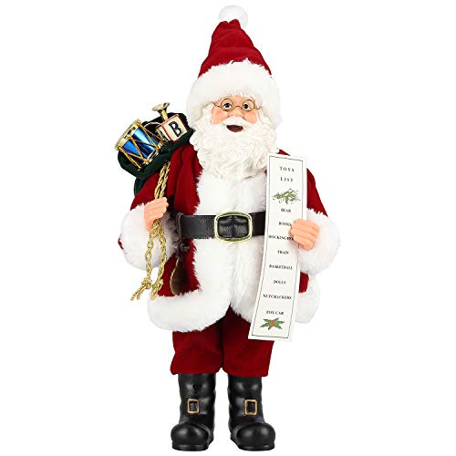 Zogin Weihnachtsmann Figur Deko Weihnachten Dekoration Weihnachtsdeko Figuren Deko Nikolaus Geschenke für Männer Frauen Kinder, verziert mit Geschenksäckchen und Geschenkliste (Mit Brille/30cm)