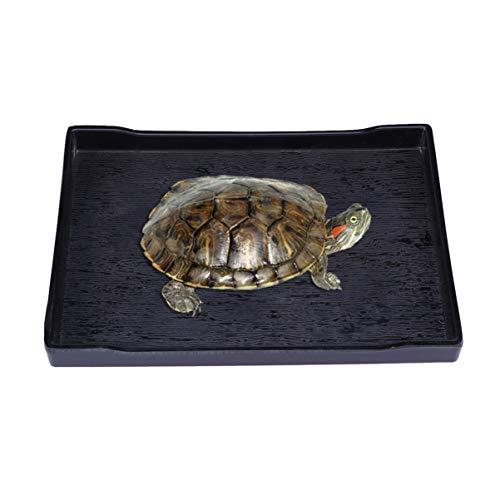 Balacoo Reptiliennapf - Große Reptilienschildkröte Futter- und Wassernapf - Haustier Supplies - Größe M (schwarz)