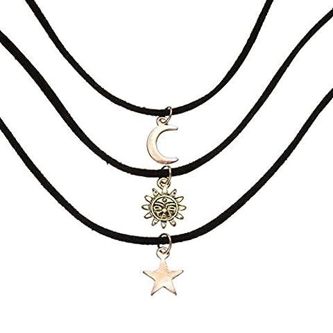 MJARTORIA Femme Bijoux Collier Choker Ras de Cou Chaine Multicouche Corde PU Cuir Pendentif Etoile Lune Soleil Vintage Noir Lot de