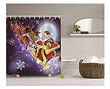 Epinki Polyester Bad Vorhang Santa Claus Elch Muster Badewanne Vorhang Mehrfarbig für Badezimmer 180x180CM