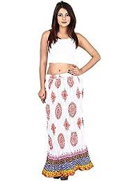 Gaurangi Designer Women's Party Wear White Block Print Skirt
