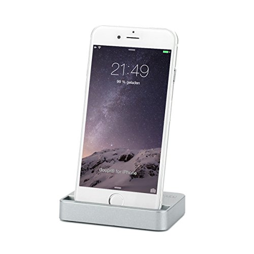 doupi Dockingstation für iPhone 5 5C 5S SE, 6 / 6S Plus, 7/7 Plus, 8/8 Plus, X/XS / XS Max/Xr, iPod Lightning Stecker Ladegerät Datenübertragung Halter, Spacegrau
