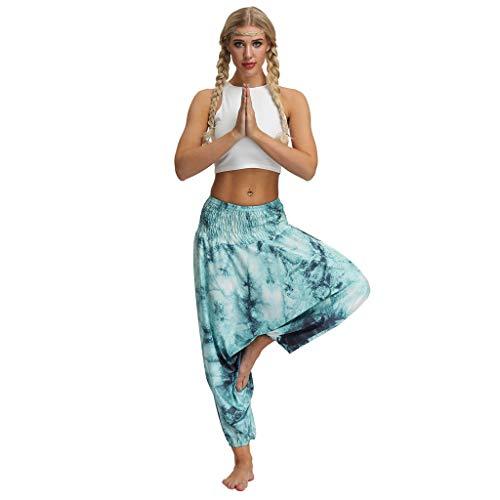 Uface pantaloni da yoga da donna,donna aladdin harem pantaloni 7/8 lunghezza fantasia fiori stampa cotone lino alla turca pantalone cavallo basso gamba larga hippie boemia yoga etnici stile pantaloni