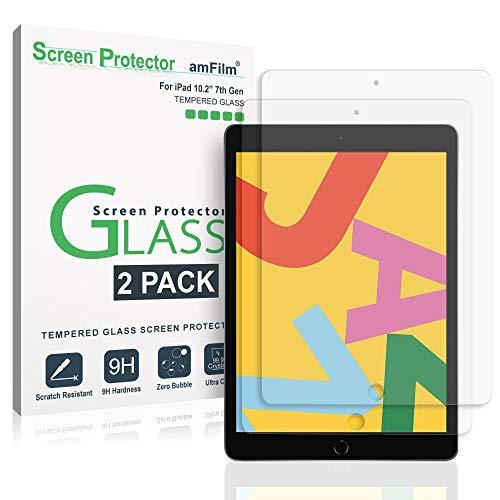 amFilm Panzerglas Displayschutzfolie für iPad 10.2 (2 Stück), Panzerglas (Gehärtetem Glas) Schutzfolie für Apple iPad 10.2 Zoll (2019)